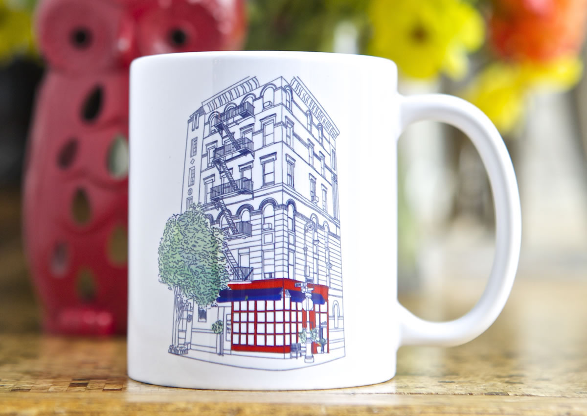 Little Owl Mug with a painting of 90 Bedford St.