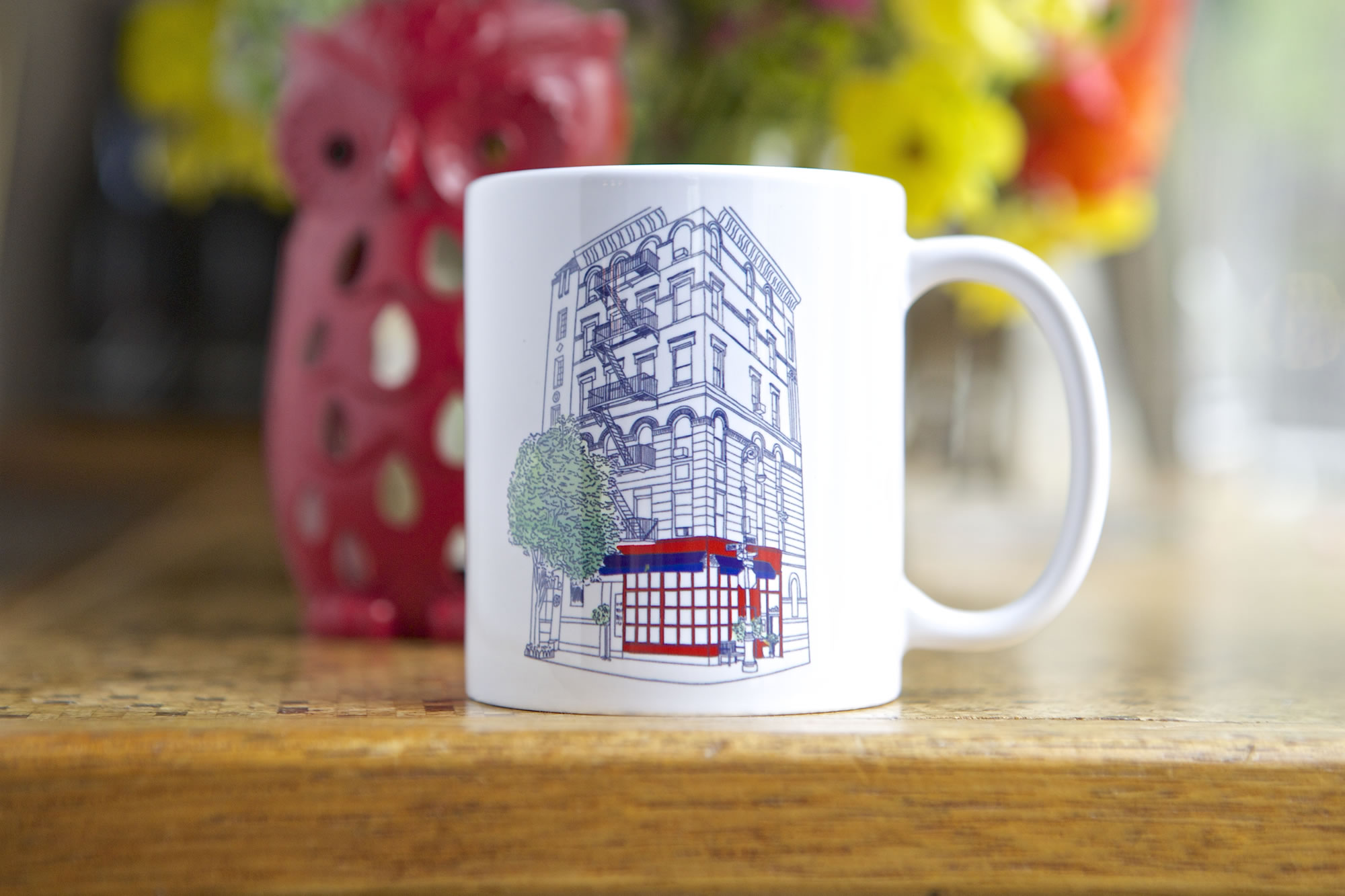 Little Owl Mug featuring a painting of 90 Bedford Street