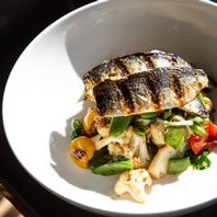 Grilled Sardine Fillets with cauliflower, sugar snaps, chili coriander dressing